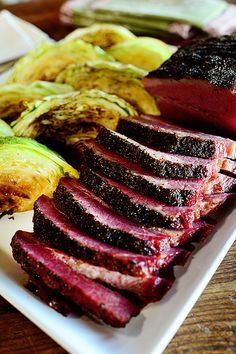 Corned Beef & Cabbage by Ree Drummond / The Pioneer Woman. Made St. Patty's day Make extra balsamic sauce next time.the sauce is awesome on the beef! patricks day dinner corned beef Corned Beef and Cabbage Corn Beef And Cabbage, Cabbage Recipes, Steamed Cabbage, Braised Cabbage, Roasted Cabbage, Roasted Corned Beef And Cabbage Recipe, Green Cabbage, Good Food, Yummy Food