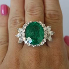 Platinum 11.98ct Colombian Emerald and Diamond Cocktail Ring
