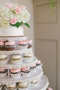 Cupcake Display: On SMP: http://www.StyleMePretty.com/2014/03/14/pastel-wedding-at-the-old-field-club/  Laura Ivanova Photography