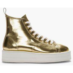 COMME DES GARÇONS Metallic Gold Leather Flatform Sneakers