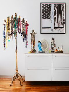 Show off your jewelry- love the use of a candelabra!!