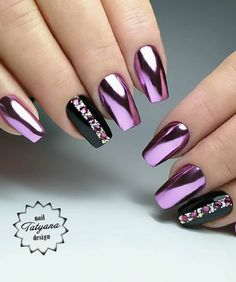 30 Cute And Natural Short Square Nails Design Ideas For Summer Nails – Page 14 of 30 - acrylic nails Chrome Nails Designs, Nail Polish Designs, Nail Art Designs, Metallic Nails, Cute Acrylic Nails, Nail Manicure, Gel Nails, Sqaure Nails, Purple Nails