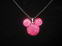 Sparkle Mickey Mouse Head Necklace in Darker by pochakila on Etsy