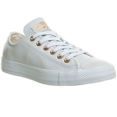 Converse All Star Low Leather ($87) ❤ liked on Polyvore featuring shoes, sneakers, powder blue rose gold, trainers, unisex sports, converse shoes, star shoes, powder blue shoes, leather sneakers and sport sneakers