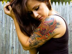 color of phoenix 25 Half Sleeve Tattoos For Women.... phenox =wind and fire