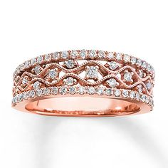 I have fallen for this ring. Diamond Anniversary Ring 1/2 ct tw Round-cut 10K Rose Gold