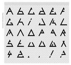 Modular Typeface - Triangle One by Alex Davies, via Behance Alphabet Design, Alphabet Symbols, Triangle Font, Triangle Design, Triangle Shape, Typography Fonts, Typography Design, Logo Design, Geometric Logo