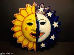 "Vintage Mexican Folk Art SUN MOON FACE Wall Plaque LARGE 13.25"""