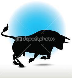 Silueta del toro — Ilustración de stock #47427523