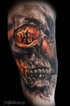 Today's skull of the day is this epic piece by Sławomir Myśków. #InkedMagazine #skull #tattoo #tattoos #Inked #Ink #art