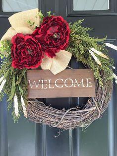 Red Peony Wreath