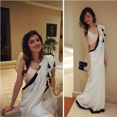 Divya Khosla Kumar in white saree Indian Attire, Indian Ethnic Wear, Indian Style, Indian Dresses, Indian Outfits, White Saree, Simple Sarees, Saree Look, Elegant Saree