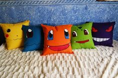 Sewing Cushions Pokemon Cushion great kid friendly project with the help of an adult doing the sewing.Draw the facial features on and let them paint them in with fabric paint.If you prefer you can find fabric for the facial features cut out eyes nose Sewing Pillows, Diy Pillows, How To Make Pillows, Cushions, Throw Pillows, Pokemon Room, Pokemon Craft, Pokemon Party, Sewing Projects For Kids