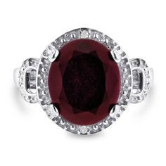Can't beat the prices of jewelry at SuperJeweler! (oh, and free shipping) 7ct Oval Shape Ruby And Diamond Ring Crafted In Solid Sterling Silver