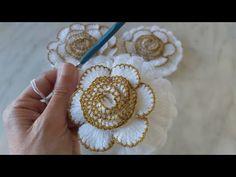 Elsa, Brooch, Crochet, Floral, Flowers, Youtube, Jewelry, Crochet Leaf Patterns, Crochet Leaves