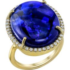 Irene Neuwirth Black Opal & Diamond Ring - $30,640. The intensity of that blue is mind-boggling.