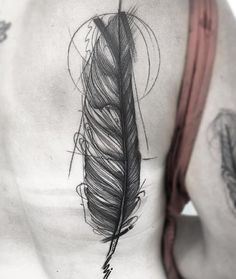 coolTop Body - Tattoo's - Large sketch style feather by Frank Carrilho
