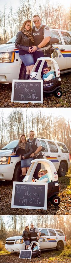 RCMP baby announcement photo. Back up is on the way.