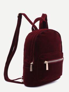 Burgundy Pocket Front Double Handle Velvet Backpack