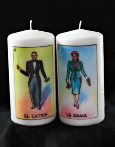 Loteria El Catrin and La Dama Pair of White Unscented Candles