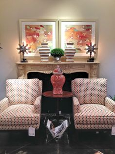 A great trick to decorating your mantle is to let the art do all the talking. Keeping the accessories to a minimum creates a nice, clean look. The color here all comes from the artwork, which takes up most of the negative space on the mantle itself!