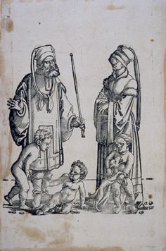 Hans Sebald Beham, German, 1500–1550 Enos and His Wife, from The Patriarchs of the Old Testament with their Wives and Children, 1530, Woodcut, fifth state of five  75.146.  #palmermuseumofart