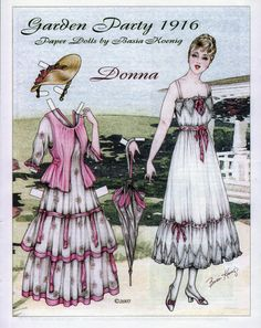 Garden Party 1916 paper dolls (1 of 2) by Basia Koenig  | gardenparty2.jpg 600×757 pixels