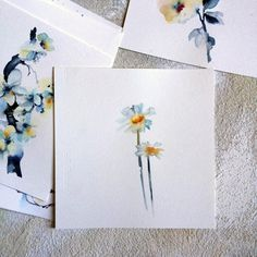 Minimalist Watercolor Painting Daisies Painting by CanotStop