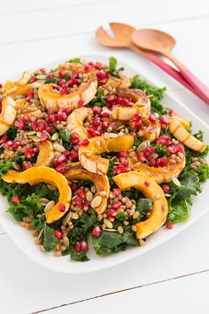 Kale and Delicata Squash Salad with Citrus-Maple Vinaigrette from Oh My Veggies @Oh My Veggies  #vegetarian #kale