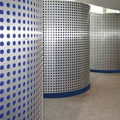 Bright blue polka dots peek through perforated aluminum at the Golden Moon Casino ... #MózMetals #Interior #Design #Metal #Aluminum #Surface #Surfacing #Architecture #Architectural #Entertainment #Casino