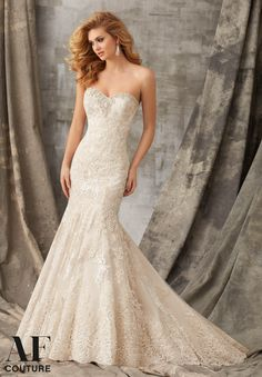 1353  Tonal Embroidery Combined with Venice Lace Appliques on Tulle Trimmed with Crystal Beading