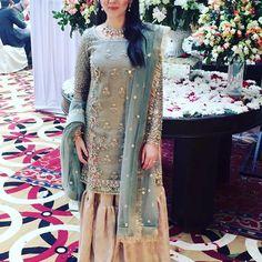 Samara Sufi in a stunning Zara Shahjahan signature Gharara. Asian Wedding Dress, Pakistani Wedding Outfits, Pakistani Bridal, Pakistani Dresses, Indian Dresses, Indian Outfits, Shadi Dresses, Gharara Designs, Dress Designs