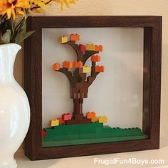 Lego Fall Leaf Shadow Box - Frugal Fun For Boys and Girls Lego Activities, Autumn Activities, Fall Crafts, Crafts For Kids, Lego For Kids, Lego Design, Lego Projects, Crafty Kids, Cool Lego