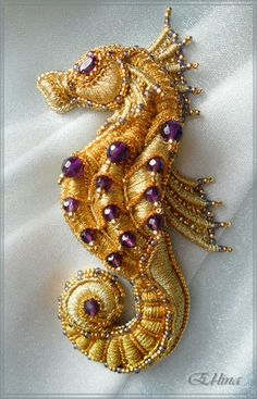 Seahorse. Embroidered brooch. Handmade. Goldwork embroidery. Beadwork. Needlepoint.