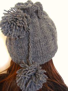 Ready to ship!!!! This hat is made from grey yarn that will keep your head warm and toasty! Wear your hair up or down, with the hat off to the side or down covering your ears if it's cold. Hat is crocheted with 50% Virgin Wool yarn and 50% Acrylic ya