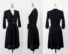vintage 1930s 30s dress // Black Swing Dress with by RococoVintage, $38.00