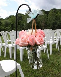 Decoration - cute for outdoor/backyard wedding. Cheap & simple