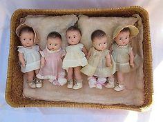 """Vintage Mixed Set of 7"""" Composition Madame Alexander Dionne Quintuplet Dolls"""