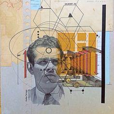 Emilio Cadena Collage Illustrations, Emilio, Burning Man, Afro, Mixed Media, Chains, Africa, Mixed Media Art