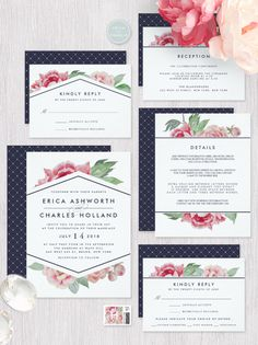 Chic vintage floral wedding invitations feature blush pink and sage green watercolor peonies with midnight blue lettering and a contrasting back pattern. By @redwoodandvine exclusively for @zazzle
