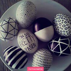 Декор, креатив, Пасха, черный, белый, чёрно-белая Пасха, чёрно-белые узоры, сочетание черного и белого, чёрно-белый декор, чёрно-белый праздник, яйца, как украсить яйца, пасхальные узоры, как украсить праздник, чёрный, белый