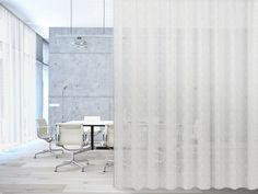 transparenter Akustik Vorhang SNOOZER Annette Douglas Textiles ACOUSTICS® Drapery Fabric, Curtains, Acoustic Fabric, Furniture Design, Interior, Fabrics, Inspiration, Indoor, Interieur