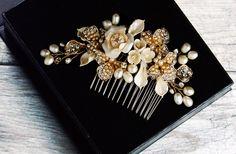 Pearl Hair Comb, Crystal Bridal Hair Comb, Wedding Hair Comb, Bridal Headpiece, Bridal Hair Jewelry, Silver Hair Comb, Gold Hair Comb by LordandGreyBridal on Etsy https://www.etsy.com/listing/228966836/pearl-hair-comb-crystal-bridal-hair-comb