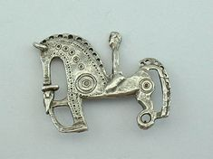 Sterling Silver CELTIC Horse and Rider BROOCH by Peggy Yunque  1.5 x 2 inches, NYC, 1996