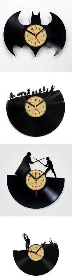 Handmade Vinyl Record Clock:: With over 50 different scenes to choose from, I'm sure that you will find at least 2 that would make your sad, empty wall space feel more loved. Vinyl Record Clock, Record Art, Vinyl Records, Record Crafts, Diy And Crafts, Arts And Crafts, Scroll Saw, Vinyl Art, Projects To Try