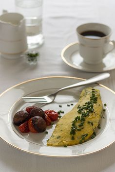 Classic French Omelette with Chives and Smoked Gouda