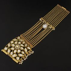 Polki Faux Pearl Beads Gold Plated Cuff Bracelet @ Indiatrend For $80.99USD