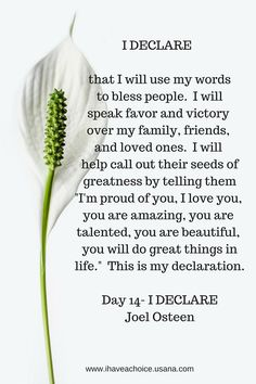 I Declare that I will use my words to bless people... Joel Osteen