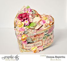 Show love with this beautiful altered heart box from Donna! Using Graphic 45 scraps and decoupage with Mod Podge