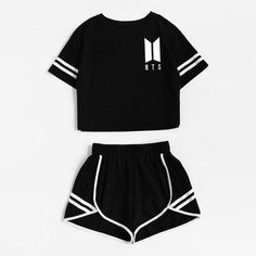 2018 Tracksuit Women Two Piece Set Summer T Shirt Crop Tops and Shorts Set Fashion BTS Kpop Stripe Lady Track Suit Set 2 Pieces - Lilly is Love Cute Lazy Outfits, Sporty Outfits, Teenage Outfits, Teen Fashion Outfits, Mode Outfits, Outfits For Teens, Girl Outfits, Emo Fashion, Fashion Purses